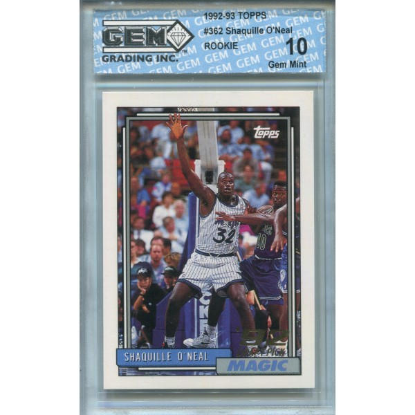 1992-93 Topps #362 Shaquille O'Neal RC - GEM 10