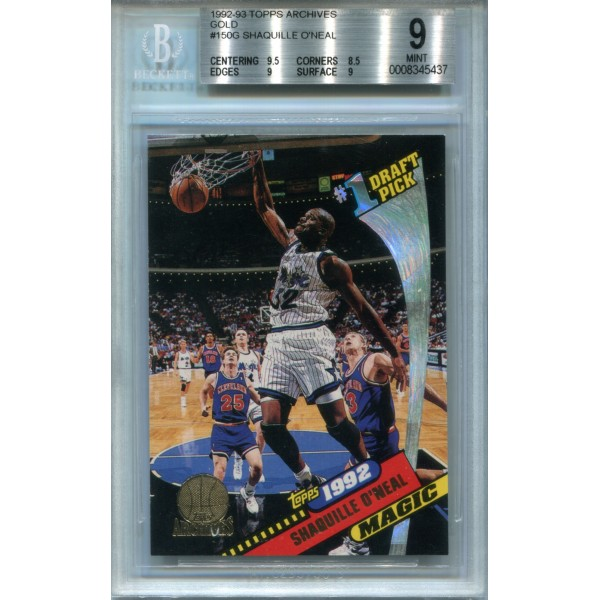 1992-93 Topps Archives Gold #150G Shaquille O'Neal Short Print /10000 - BGS 9 MINT